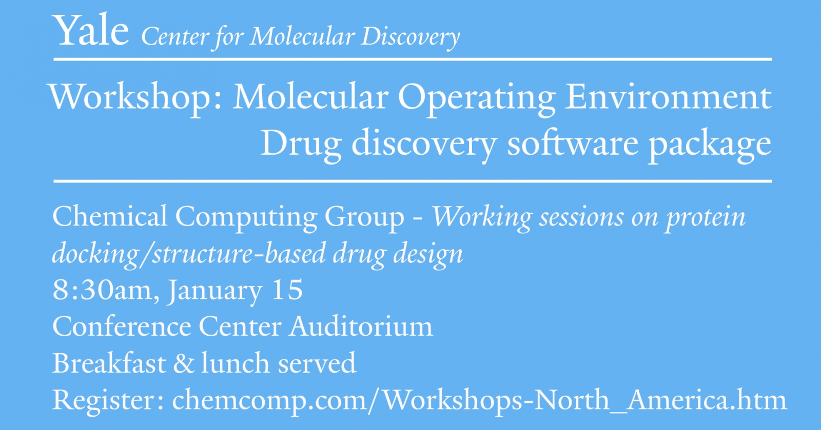 Yale Center For Molecular Discovery Workshop Yale West Campus