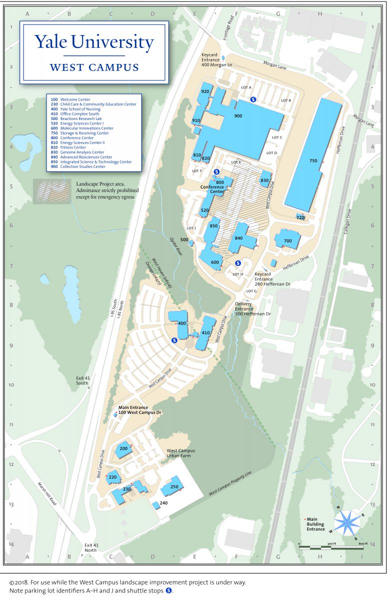 map of yale campus Campus Map Landscape Project Area And Parking Yale West Campus map of yale campus