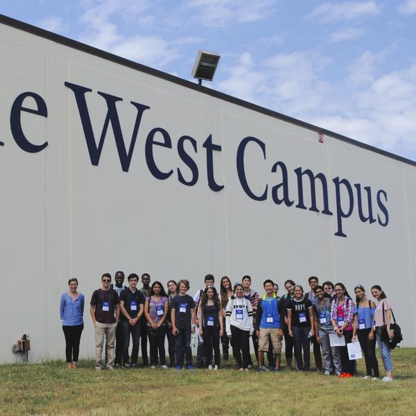 Yale West Campus group photo outside of facility