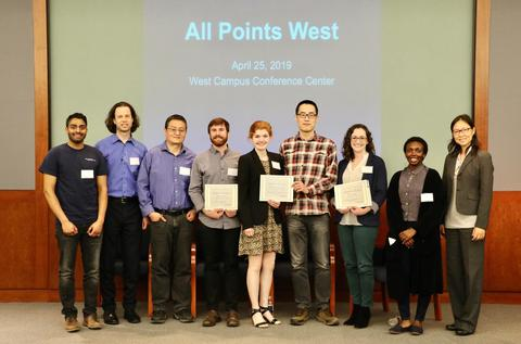 Winning scholars pictured with judges for the All Points West symposium at West Campus